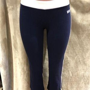 BEBE Sport Workout Capris Navy/White Size M